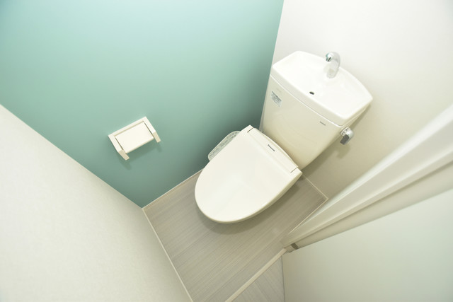 ハーモニーテラス新今里Ⅱ 白くてピカピカのトイレですね。癒しの空間になりそう。