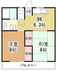 久米川グリーンハイツ2階Fの間取り画像