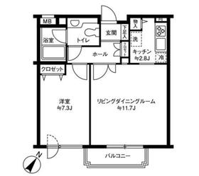 参宮橋マンション1階Fの間取り画像