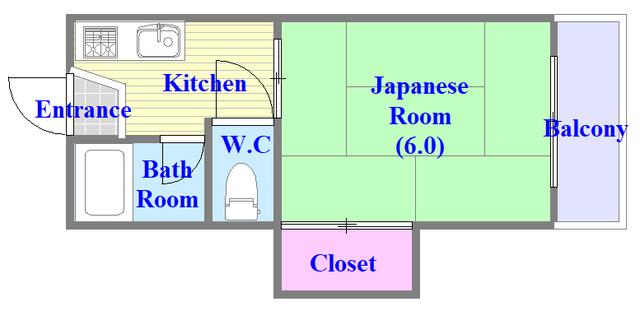 ミツワハイツⅠ 和室のお部屋になります。セパレートですよ。