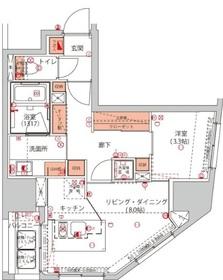 ハーモニーレジデンス千代田岩本町3階Fの間取り画像