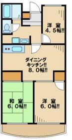 グリーンコーポ金田1号棟3階Fの間取り画像
