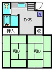 富士ハイツ2階Fの間取り画像