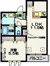 Maison Haneda ペット共生3階Fの間取り画像