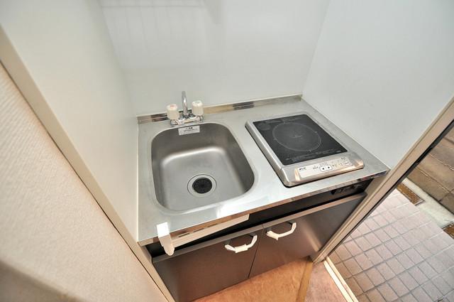 レオパレス布施  単身用のカワイイミニキッチンです。