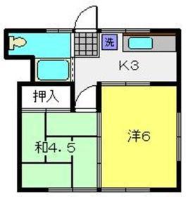 鈴木荘1階Fの間取り画像