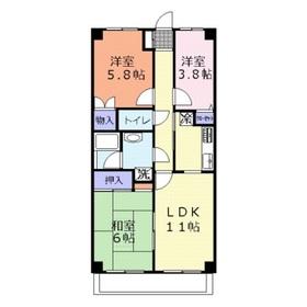 DUO FUJIMINO(デュオフジミノ)2階Fの間取り画像