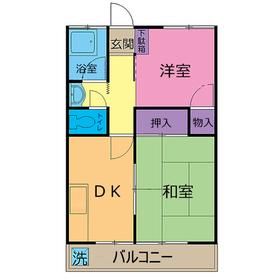 中宿レジデンスA棟1階Fの間取り画像