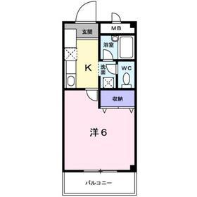 ラカーサ弐番館1階Fの間取り画像