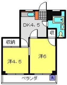 庚台コーポ4階Fの間取り画像