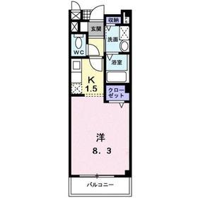 メゾン・ルミエール1階Fの間取り画像