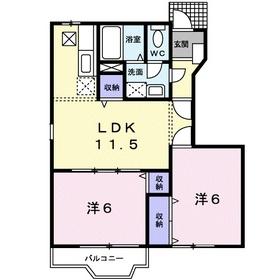 メゾンソレーユⅠ1階Fの間取り画像
