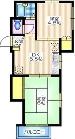 メゾン・ド・杉田1階Fの間取り画像