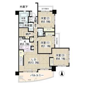 メゾン・シャルム12階Fの間取り画像