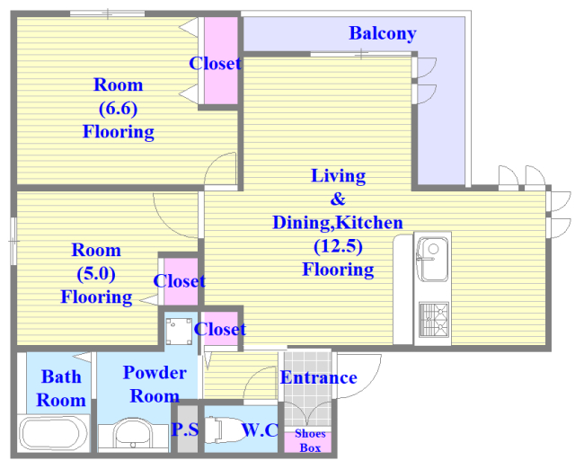 生野区中川西D-room 各部屋が余裕のある広さで、とてもゆったりとした間取りです。