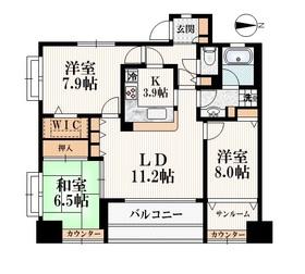 所沢駅 徒歩9分9階Fの間取り画像