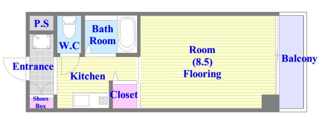 ロータリーマンション長田東 うれしいバス・トイレがセパレートの単身さん向けの間取りです。