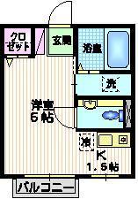 鈴木館3rd2階Fの間取り画像