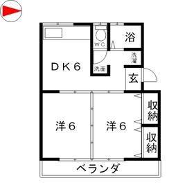 中祥ハイツ3階Fの間取り画像