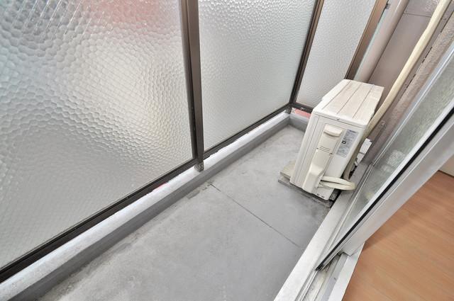 メゾンドールコトブキⅡ 単身さんにちょうどいいサイズのバルコニー。洗濯機も置けます。