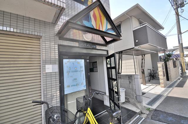 ハイム上小阪 玄関前の共有部分。周辺はいつもキレイに片付けられています。