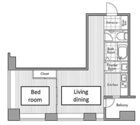 レジディアタワー麻布十番4階Fの間取り画像