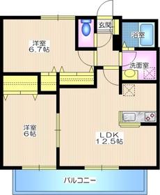 ラフィネ青葉台II2階Fの間取り画像