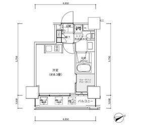 パークキューブ愛宕山タワー9階Fの間取り画像