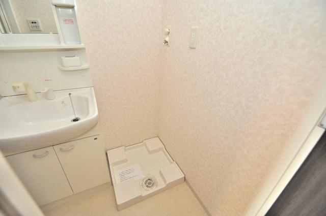 CASSIA高井田SouthCourt 嬉しい室内洗濯機置場。これで洗濯機も長持ちしますね。