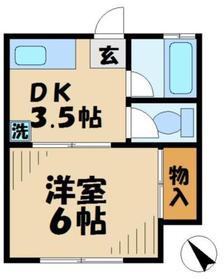 市川ハイツ1階Fの間取り画像