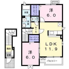 ポプラール2階Fの間取り画像
