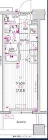 グランド・ガーラ横浜大口7階Fの間取り画像