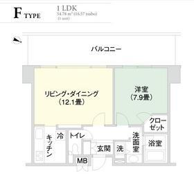 千代田ファーストハイツ15階Fの間取り画像
