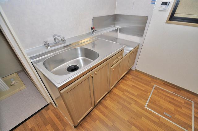 サンビレッジ・ラポール システムキッチンは広々と使えて、お料理が楽しくなります。