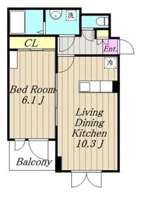 下九沢アパート3階Fの間取り画像