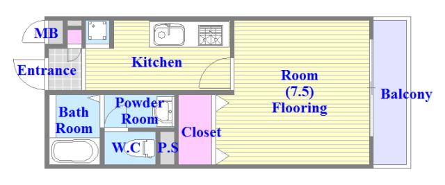 エクレール上小阪 人気の全室フローリング。収納スペースも充実しています。