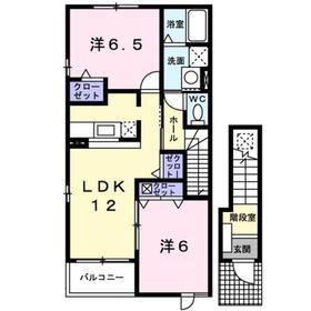 昭島駅 徒歩24分2階Fの間取り画像