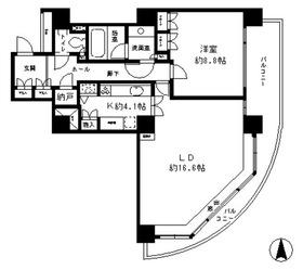 リバーポイントタワー16階Fの間取り画像