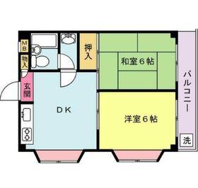 磯沼ハイツ3階Fの間取り画像