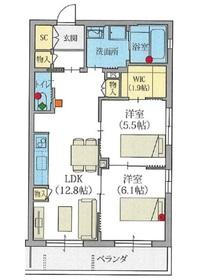 ヘーベルVillage和光市 ラファータ2階Fの間取り画像