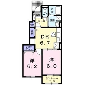 マロンドエルB1階Fの間取り画像