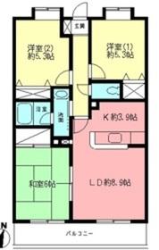 サニーフラット新百合1階Fの間取り画像