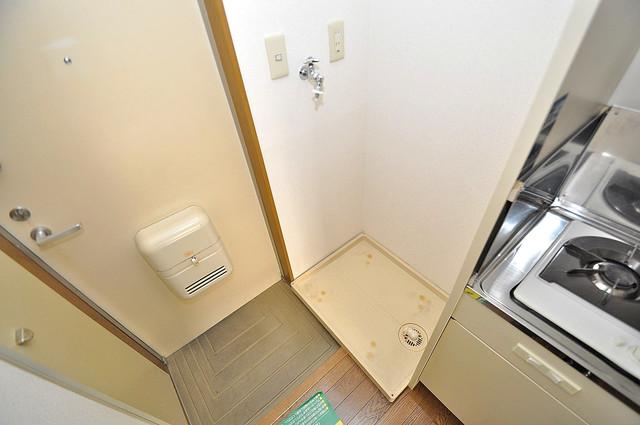 エステートピアナカタC棟 室内洗濯機置場だと終了音が聞こえて干し忘れを防げますね。