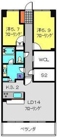 磯子レジデンス5階Fの間取り画像