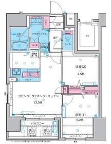 ジェノヴィア浅草Ⅱスカイガーデン6階Fの間取り画像
