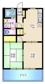 ハイツ飯田1階Fの間取り画像