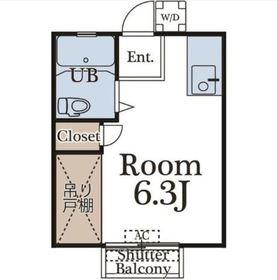 石田ハイツ2階Fの間取り画像