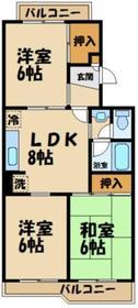 グリーンコーポ金田4号棟2階Fの間取り画像