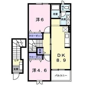 本厚木駅 バス28分「南中央通り」徒歩2分2階Fの間取り画像