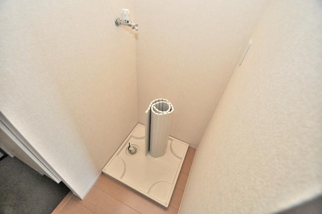 セジュールオッツ八戸ノ里 室内洗濯機置き場は脱衣場も兼ねています。